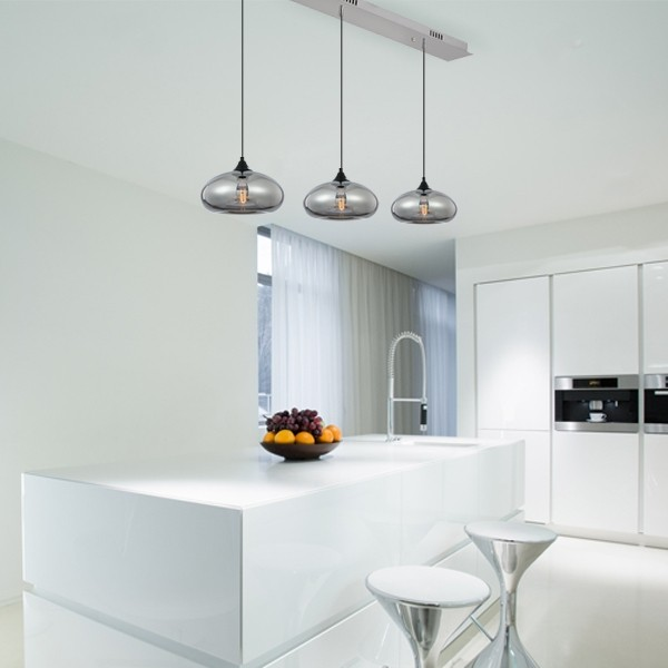 Pendants Lighting Coco 3 Lights Glass Ceiling Smoke
