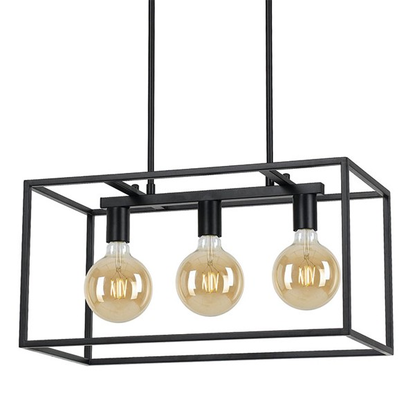 Brass Look Lantern Pendants Over Kitchen Island