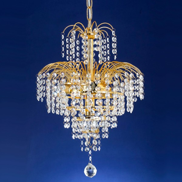 Cascade 33 Crystal Chandelier Light Gold