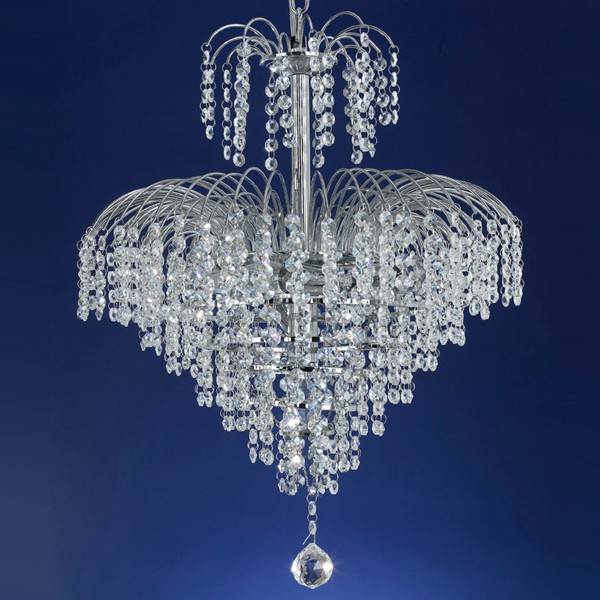 Cascade 43 Chrome Waterfall Chandelier Light
