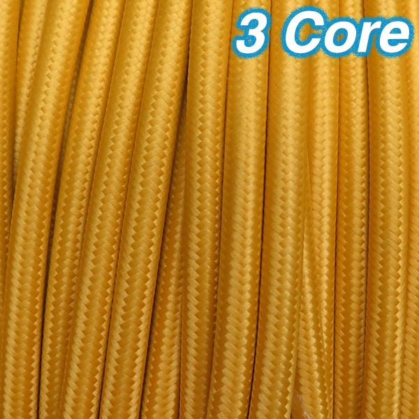 fabric lighting cable 3 core. Yellow Cloth Cord Fabric Lighting Cable 3 Core 240v