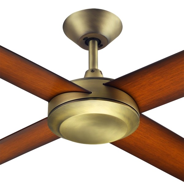 """Antique Brass Ceiling Fans Quiet Cafe Concept3 52"""" AC Polymer Hunter Pacific"""