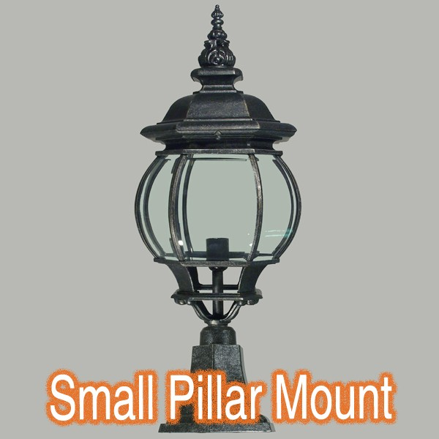 Flinders Lighting Black Pillar Mounted Brick Light