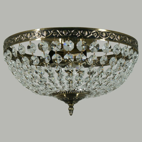 Le Pavillon Lighting Classical Crystal Antique Brass Ceiling Lights