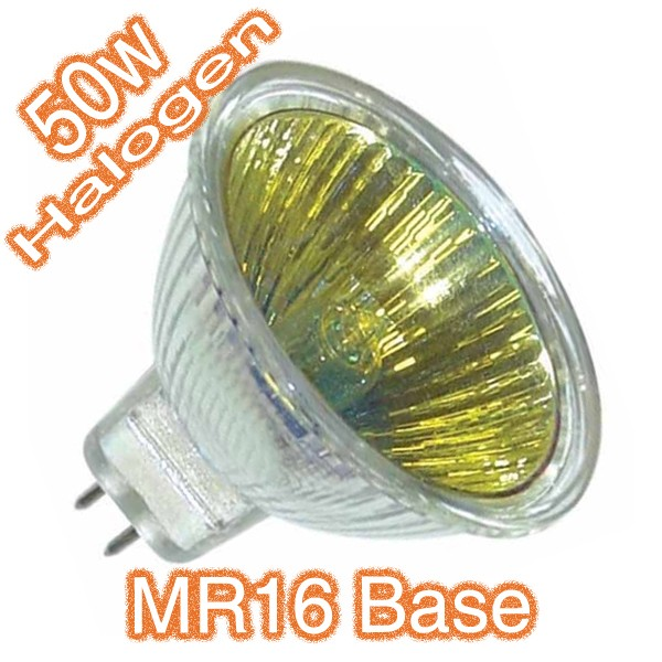 12v MR16 50w Yellow Coloured Lens Halogen Lamp Globe