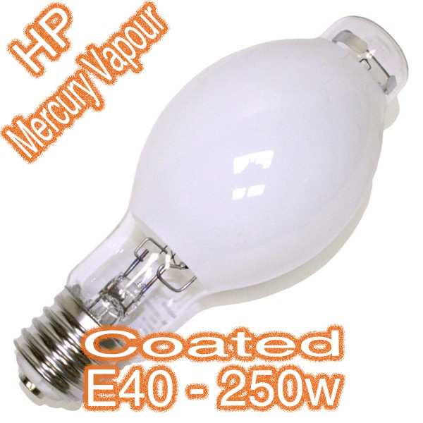 250w E40 HP Mercury Vapour Coated Eliptic Lamp 240v HID Globe