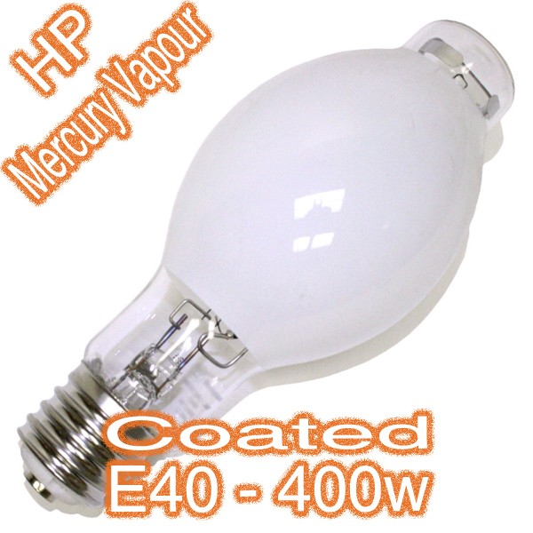 400w E40 HP Mercury Vapour Coated Eliptic Lamp 240v HID Globe