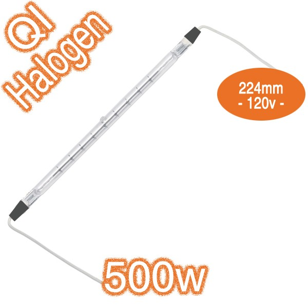 500w R7s 120v 224mm Metal Ends With Leads Double Ended Infrared Qir Heat Lamp