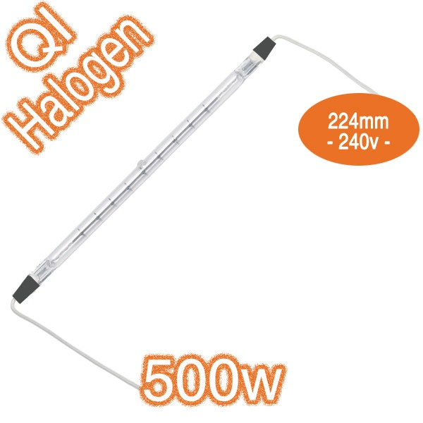 500w R7s 240v 224mm Metal Ends With Leads Double Ended Infrared Qir Heat Lamp