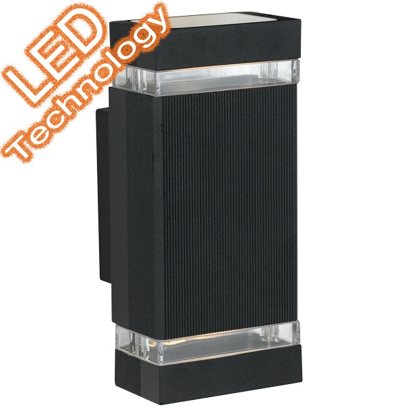 Roland LED 2 Light Outdoor Wall Lamp Black
