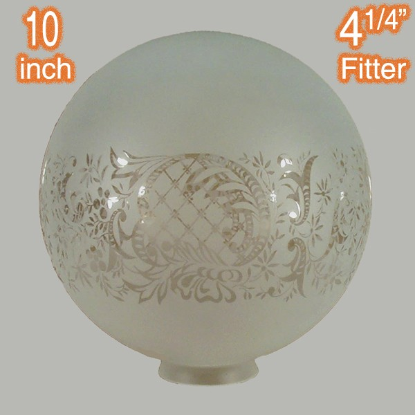 "10"" Sphere Glass Shade - Sheffield Etched"