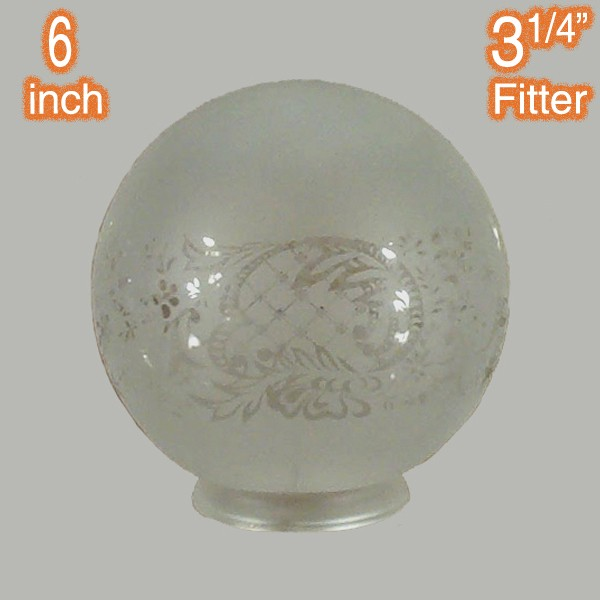 "6"" Sphere Glass Shade - Sheffield Etched"