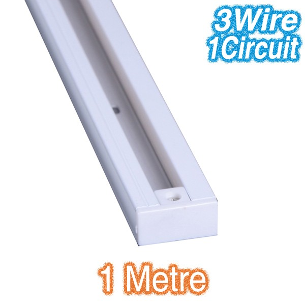 White 1m Track Lighting 3Wire 1Circuit