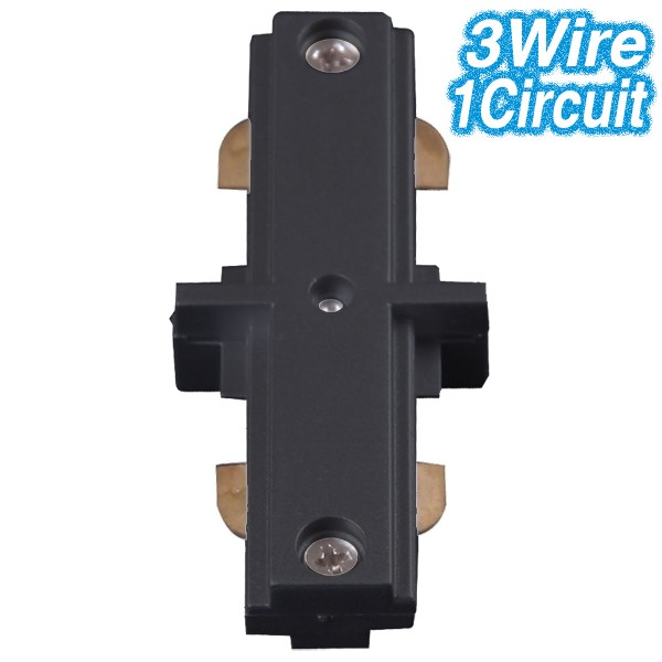 Black Straight Joiner Track Lighting 3Wire 1Circuit