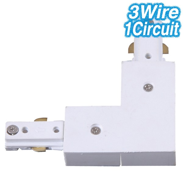 White L-Shaped Joiner Track Lighting 3Wire 1Circuit
