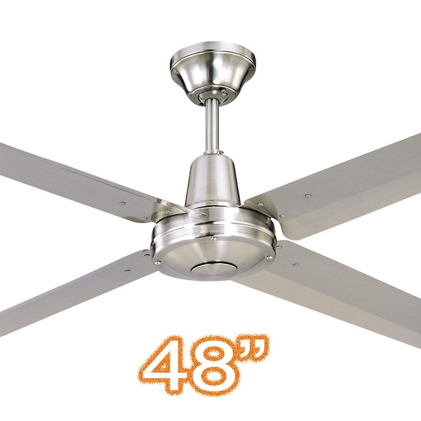 """Hunter Pacific Typhoon 48"""" Metal Ceiling Fan Brushed Chrome"""