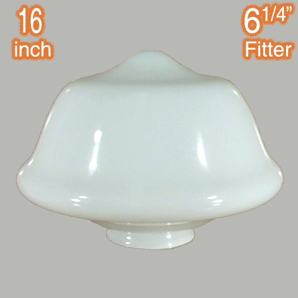 Victorian Schoolhouse 16 inch Opal Gloss Glassware Lamps Shades Period Lights
