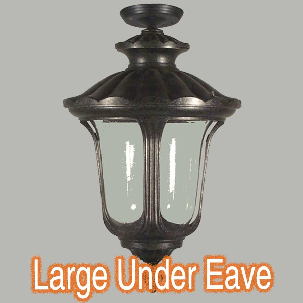 Traditional Lighting Antique Black Waterford Light Under Eave