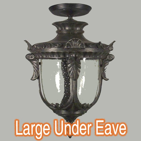 Traditional Outdoor Period Lights Wellington Under Eave Black
