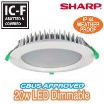 20w 190mm LED Downlight IC-F CBUS Dimmable White Round