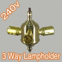 Standard 3 Way Brass Lamp Globe Adaptor B22