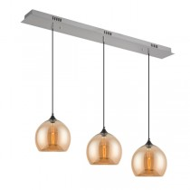 Bella 3 Lights Glass Pendants Kitchen Bench Amber Ceiling Hanging Lighting