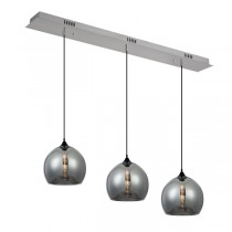 Bella 3 Lights Glass Pendants Smoke Hanging Ceiling Lighting Kitchen Bench