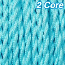Aqua Twisted Fabric Cloth Cord 2 Core Lighting Cable 240v