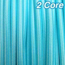 Aqua Fabric Cloth Cord 2 Core Lighting Cable 240v