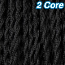 Black Twisted Fabric Cloth Cord 2 Core Lighting Cable 240v