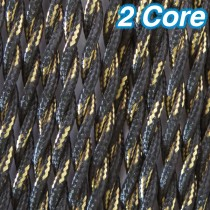 Black & Gold Twisted Fabric Cloth Cord 2 Core Lighting Cable 240v