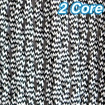 Black & White Twisted Fabric Cloth Cord 2 Core Lighting Cable 240v