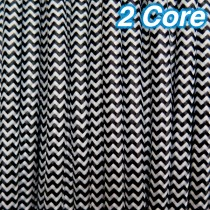 Black & White Fabric Cloth Cord 2 Core Lighting Cable 240v