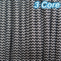 Black & White Fabric Cloth Cord Cable 3 Core 240v