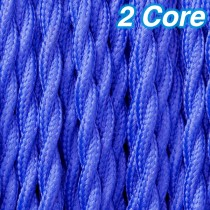 Blue Twisted Fabric Cloth Cord 2 Core Lighting Cable 240v