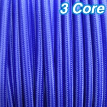 Blue Fabric Cloth Cord Cable 3 Core 240v