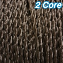 Brown Twisted Fabric Cloth Cord 2 Core Lighting Cable 240v
