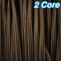 Brown Fabric Cloth Cord 2 Core Lighting Cable 240v