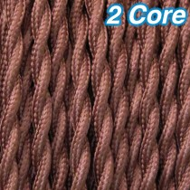 Cocoa Twisted Fabric Cloth Cord 2 Core Lighting Cable 240v