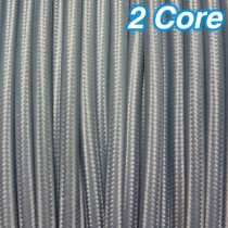 Grey Fabric Cloth Cord 2 Core Lighting Cable 240v