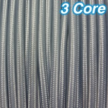 Grey Fabric Cloth Cord Cable 3 Core 240v