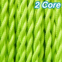 Lime Twisted Fabric Cloth Cord 2 Core Lighting Cable 240v