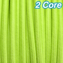Lime Fabric Cloth Cord 2 Core Lighting Cable 240v
