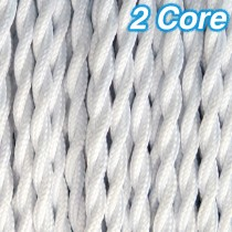 White Twisted Fabric Cloth Cord 2 Core Lighting Cable 240v