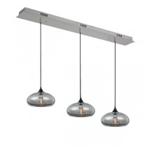 Pendants Lighting Coco 3 Lights Glass Ceiling Smoke Kitchen Bench
