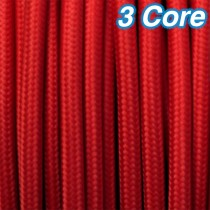 Red Fabric Cloth Cord Lighting Cable 3 Core 240v