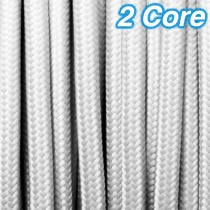 White Fabric Cloth Cord 2 Core Lighting Cable 240v