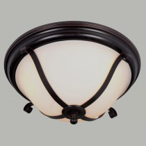 American Lighting Bronze Dallas 3 Light Oyster Ceiling Flush