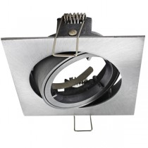 Brushed Aluminium Square Gimble Tilt Downlight Frame Only
