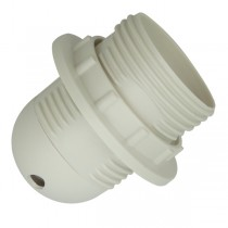 E27 Plastic Lamp Holder - 240v White + Thread